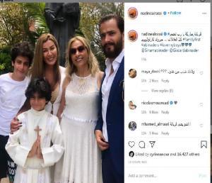 نادين الراسي تحتفل مع طليقها جيسكار أبي نادر بالمناولة الأولى لإبنهما