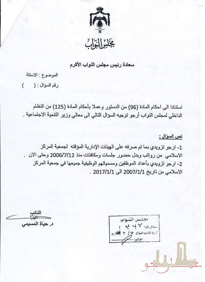 بالوثائق  .. نصف مليون دينار مكافآت حكومية للهيئة الإدارية لجمعية المركز الإسلامي